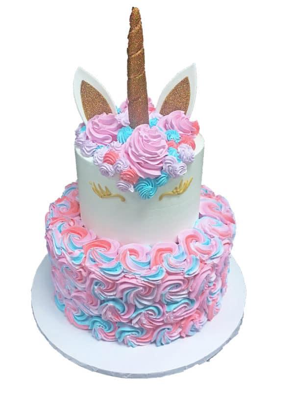 Two Tier Cake 16b Rosette Unicorn Fondant Horn Ears