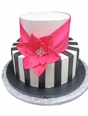 pink flower black and white cake