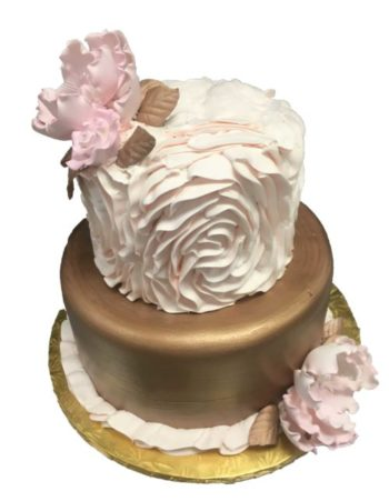 white pink and gold tiered cakes