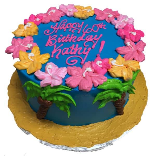 Swell Birthday Cake 126 Tropical Celebration Aggies Bakery Cake Shop Birthday Cards Printable Trancafe Filternl