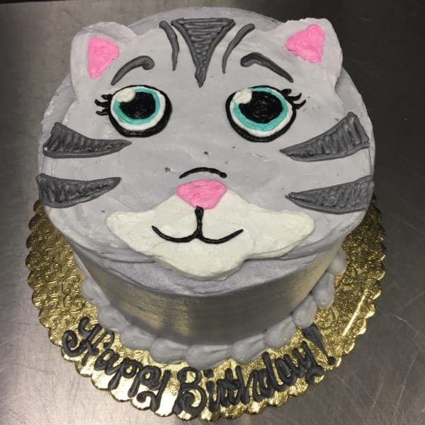 Pleasant Birthday Cake 127 Cute Cat Face Aggies Bakery Cake Shop Personalised Birthday Cards Veneteletsinfo