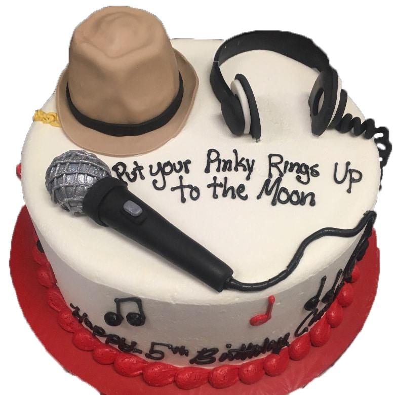 Magnificent Music Cake 3D Fondant Microphone Hat And Headphones Aggies Personalised Birthday Cards Bromeletsinfo