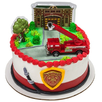 Tremendous Kids And Character Cake Fire Truck And Station Round 15332 Funny Birthday Cards Online Benoljebrpdamsfinfo