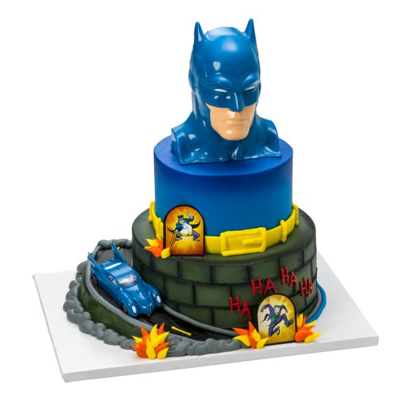 Awesome Two Tier Cake 45 Batman To The Rescue 7240 Aggies Bakery Personalised Birthday Cards Veneteletsinfo