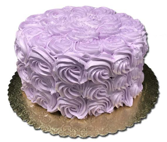 purple rosette cake shadow
