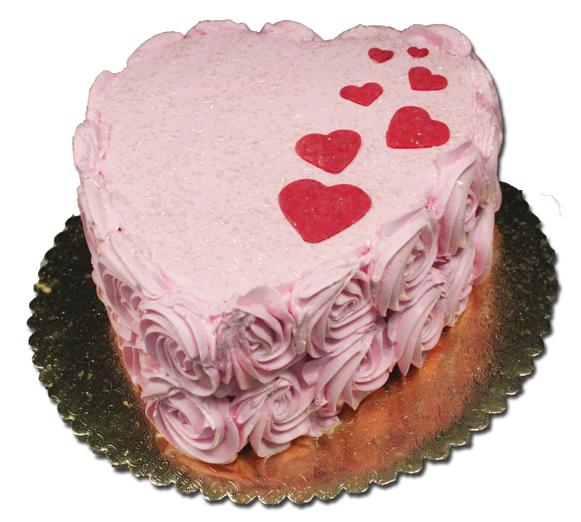 8 Rosette Heart Cake Single layer Aggies Bakery Cake Shop