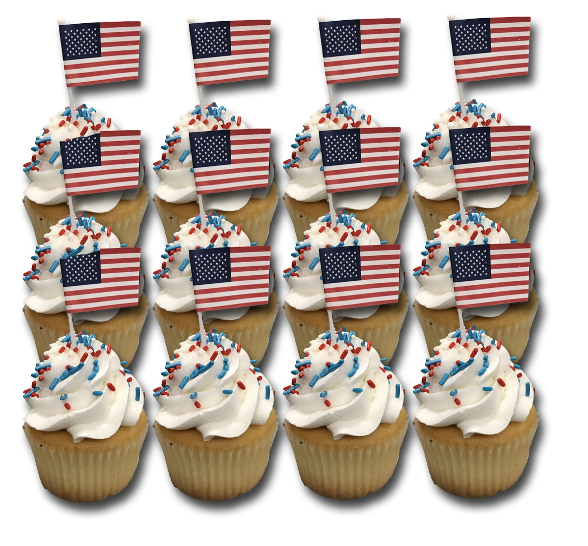 Fourth Of July Cupcakes- White (Dozen)