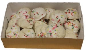 white dipped cookies open